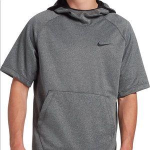 Nike Mens Spotlight Gray Black Short Sleeve Hoodie